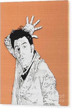The Neighbor On Orange Wood Print