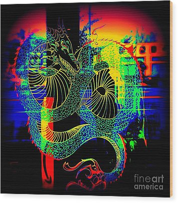 The Neon Dragon Wood Print by Kelly Awad