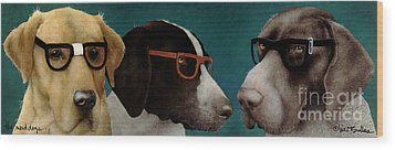 The Nerd Dogs... Wood Print by Will Bullas