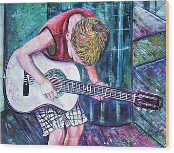 The New Guitar Wood Print by Linda Vaughon