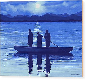 The Night Fishermen Wood Print