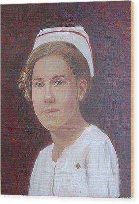 Wood Print featuring the painting The Nurse by Sharon Schultz