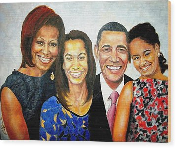 The Obama Family Wood Print