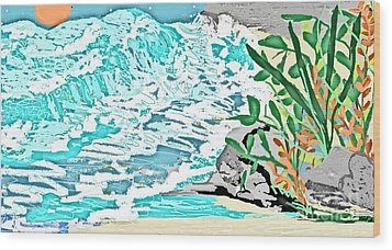 The Ocean Blues Wood Print by Sherry  Hatcher