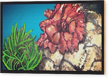 Wood Print featuring the painting The Odd Couple Two Very Different Sea Anemones Cohabitat by Kimberlee Baxter