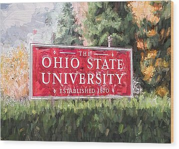 Wood Print featuring the painting The Ohio State University by Ike Krieger