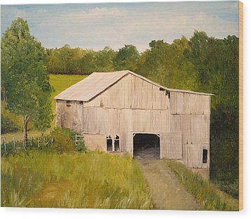 Wood Print featuring the painting The Old Barn by Alan Lakin