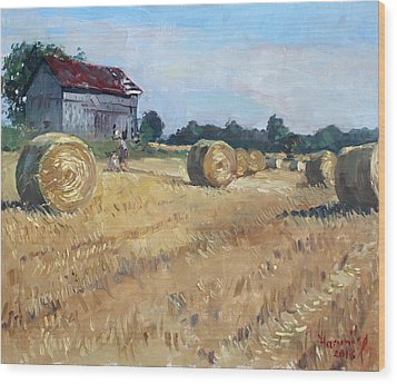 The Old Barns In Georgetown On Wood Print by Ylli Haruni