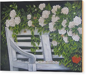 The Old Bench Wood Print by Katia Aho