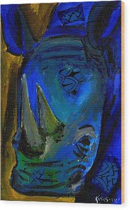 The Old Blue Rhino Wood Print