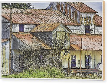The Old Cotton Barn Wood Print by Barry Jones