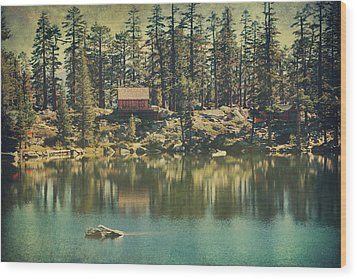 The Old Days By The Lake Wood Print by Laurie Search