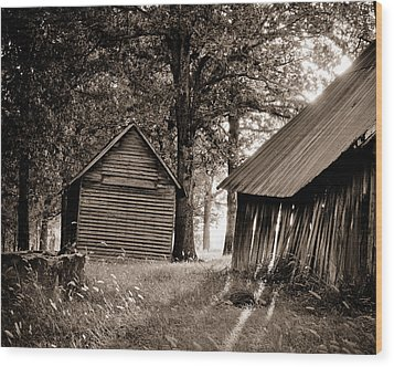 Wood Print featuring the photograph The Old Farm At Sunrise by Amber Kresge