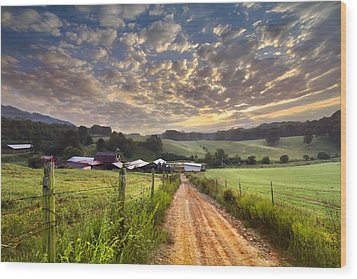 The Old Farm Lane Wood Print by Debra and Dave Vanderlaan