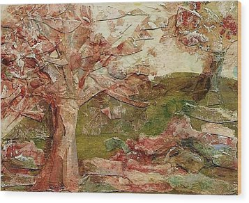 Wood Print featuring the painting The Old Fence Line by Mary Wolf
