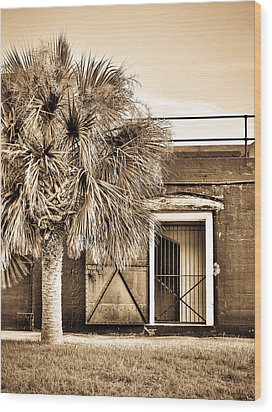 The Old Fort-sepia Wood Print