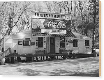 The Old General Store Bw Wood Print by Mel Steinhauer