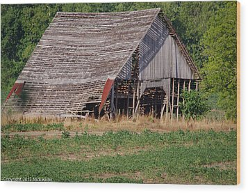Wood Print featuring the photograph The Old Gray Barn by Nick Kirby