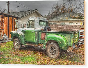 Wood Print featuring the photograph The Old Green Truck by Jim Thompson