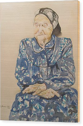 The Old Holocaust Survivor Wood Print by Esther Newman-Cohen