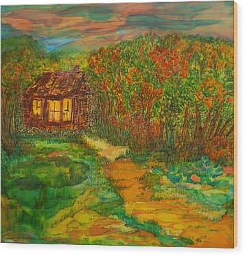 Wood Print featuring the painting The Old Homestead by Susan D Moody