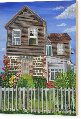 Wood Print featuring the painting The Old House by Laura Forde