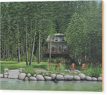 The Old Lawg Caybun On Lake Joe Wood Print by Kenneth M  Kirsch