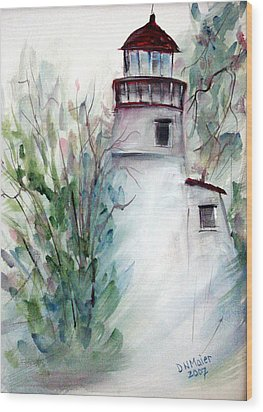 Wood Print featuring the painting The Old Lighthouse by Dorothy Maier