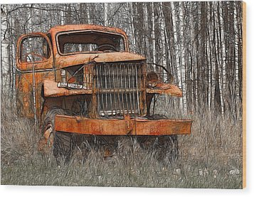 The Old Military Truck Wood Print