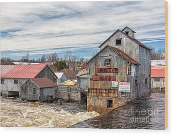 The Old Mill And The Raging River Wood Print
