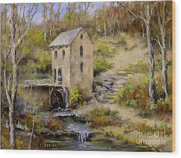 The Old Mill In Late Fall Wood Print by Virginia Potter