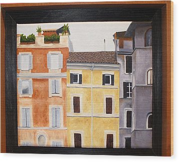 The Old Neighborhood Wood Print by Karin Thue