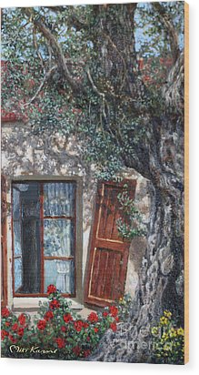 The Old Olive Tree And The Old House Wood Print by Miki Karni