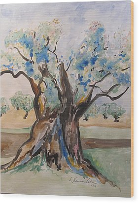 The Old Olive Tree Wood Print by Esther Newman-Cohen