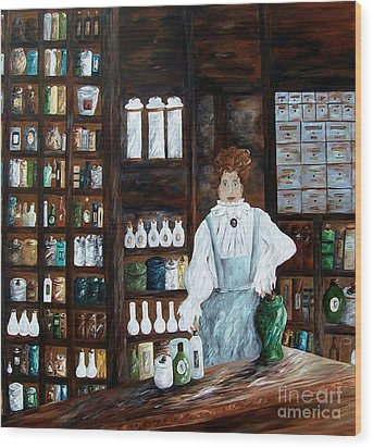 The Old Pharmacy ... Medicine In The Making Wood Print by Eloise Schneider
