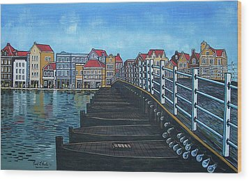 The Old Queen Emma Bridge In Curacao Wood Print