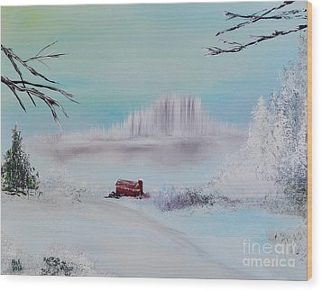 The Old Red Barn In Winter Wood Print by Alys Caviness-Gober