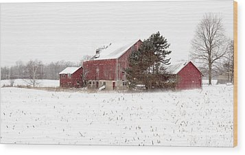 Wood Print featuring the photograph The Old Red Barn by Nick Mares