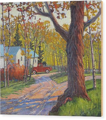 The Old Red Pickup Wood Print by Susan McCullough