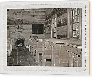 The Old Schoolhouse Wood Print by Susan Leggett