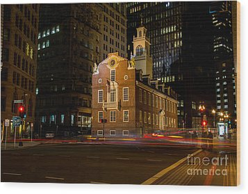 The Old State House Wood Print