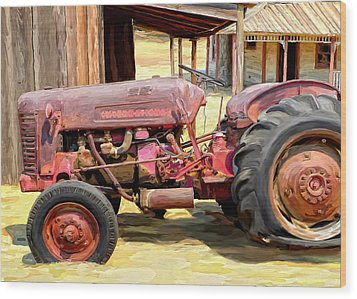 The Old Tractor Wood Print by Michael Pickett