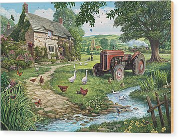The Old Tractor Wood Print by Steve Crisp