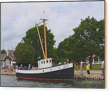 The Old Tugboat At Mystic Wood Print by Dora Sofia Caputo Photographic Art and Design