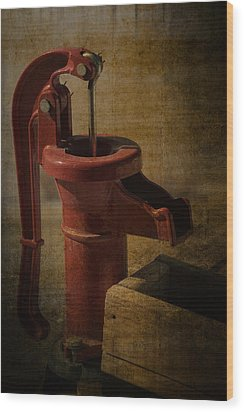 The Old Water Pump Wood Print by Lena Wilhite