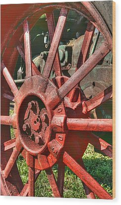 The Old Wheel Wood Print by Michael  Allen
