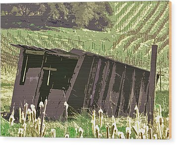 The Old Wine Shed Wood Print by Charlette Miller