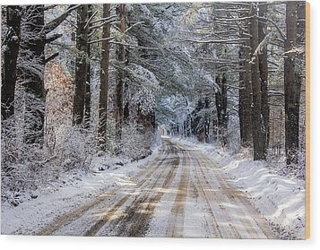 Wood Print featuring the photograph The Oldest Road After The Snow by Constantine Gregory