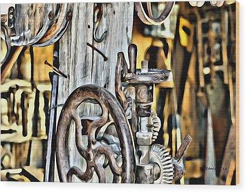 The Ole Drill Press Wood Print by DD Edmison