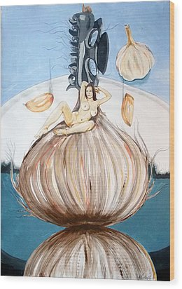 Wood Print featuring the painting The Onion Maiden And Her Hair La Doncella Cebolla Y Su Cabello by Lazaro Hurtado